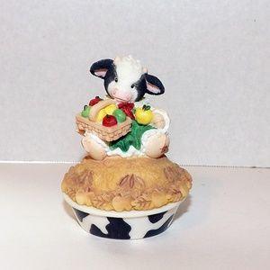 Mary's Moo Moo's Ceramic Cow Trinket Box-Apple Pie